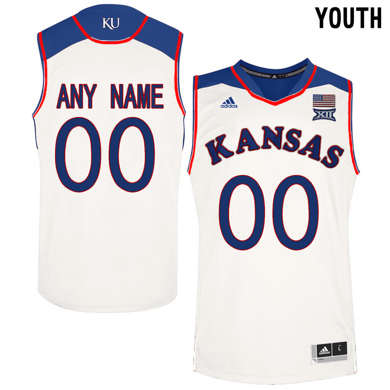 2016 Youth Kansas Jayhawks Customized College Basketball Authentic Jersey White