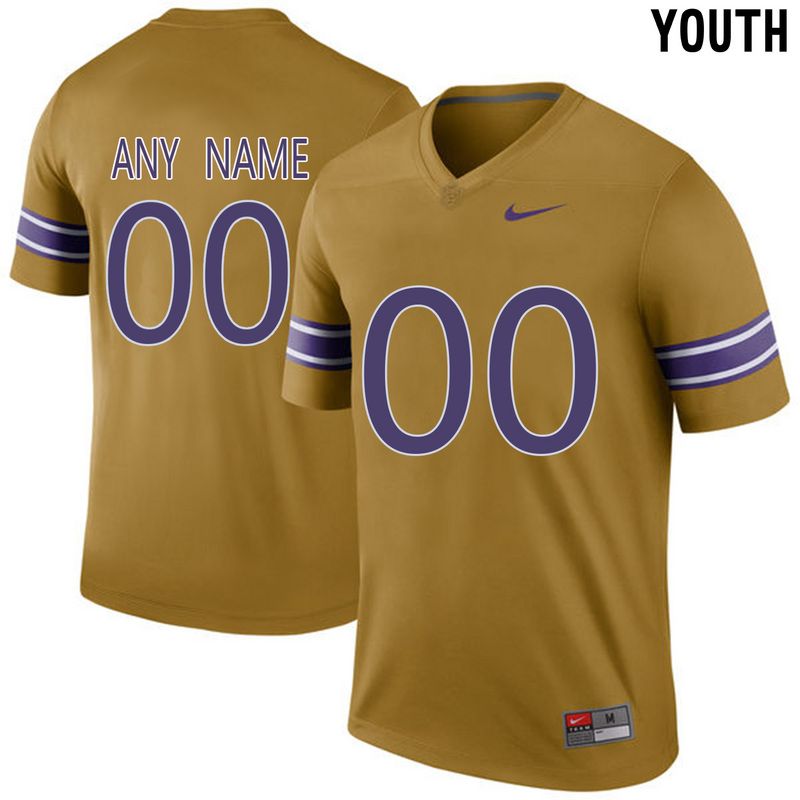 2016 Youth LSU Tigers Customized College Football Limited Throwback Legand Jersey Gridiron Gold