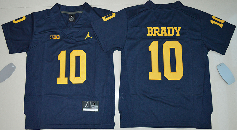 2016 Youth NCAA Jordan Brand Michigan Wolverines 10 Tom Brady Navy Blue College Football Limited Jersey