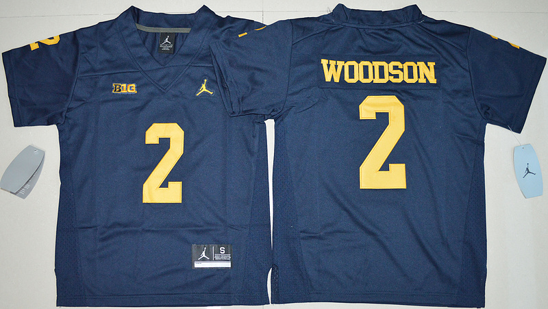 2016 Youth NCAA Jordan Brand Michigan Wolverines 2 Charles Woodson Navy Blue College Football Limited Jersey