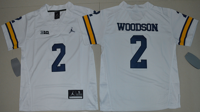 2016 Youth NCAA Jordan Brand Michigan Wolverines 2 Charles Woodson White College Football Limited Jersey