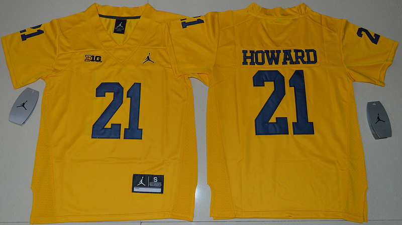 2016 Youth NCAA Jordan Brand Michigan Wolverines 21 Desmond Howard Yellow College Football Limited Jersey
