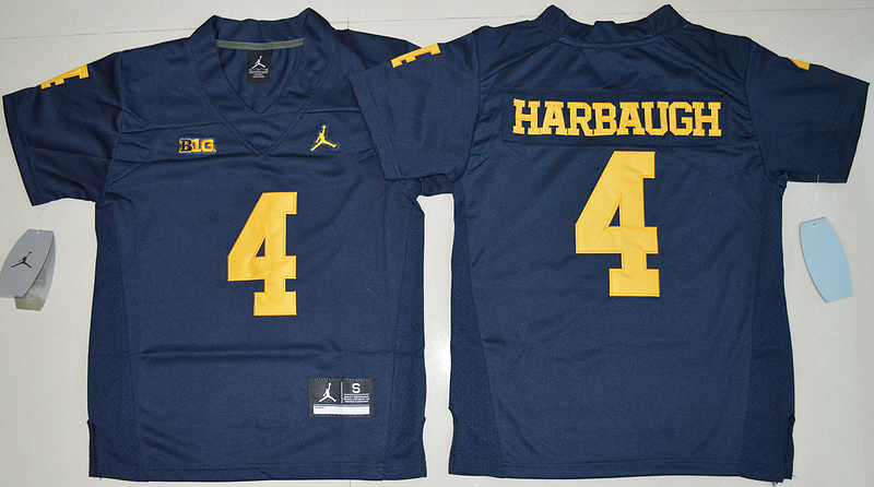 2016 Youth NCAA Jordan Brand Michigan Wolverines 4 Jim Harbaugh Navy Blue College Football Limited Jersey