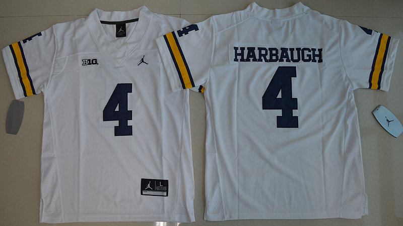 2016 Youth NCAA Jordan Brand Michigan Wolverines 4 Jim Harbaugh White College Football Limited Jersey