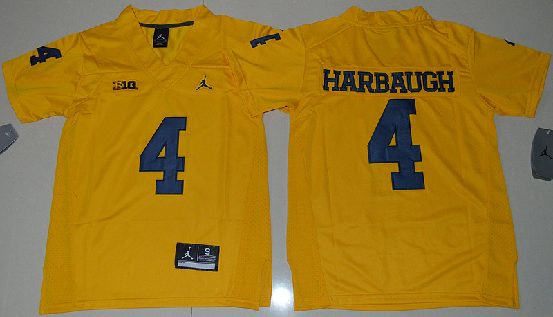 2016 Youth NCAA Jordan Brand Michigan Wolverines 4 Jim Harbaugh Yellow College Football Limited Jersey