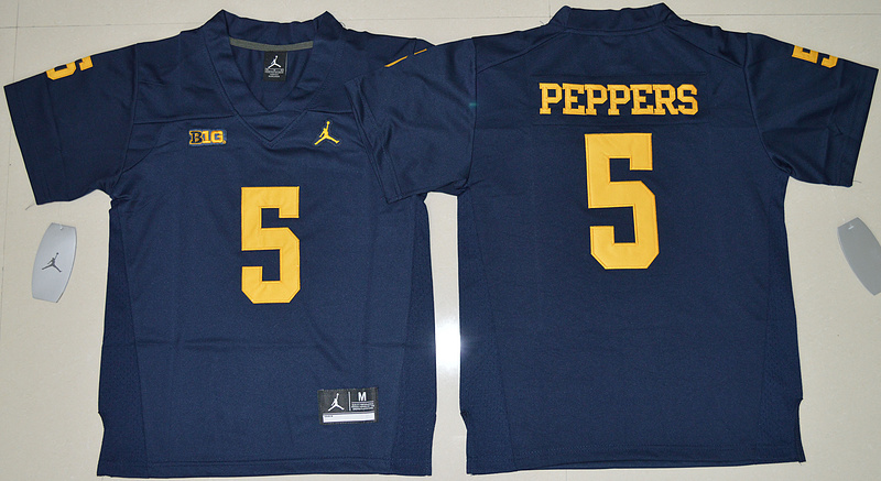 2016 Youth NCAA Jordan Brand Michigan Wolverines 5 Jabrill Peppers Navy Blue College Football Limited Jersey
