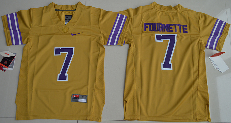 2016 Youth NCAA LSU Tigers 7 Leonard Fournette Gridiron Gold College Football Limited Legand Jersey