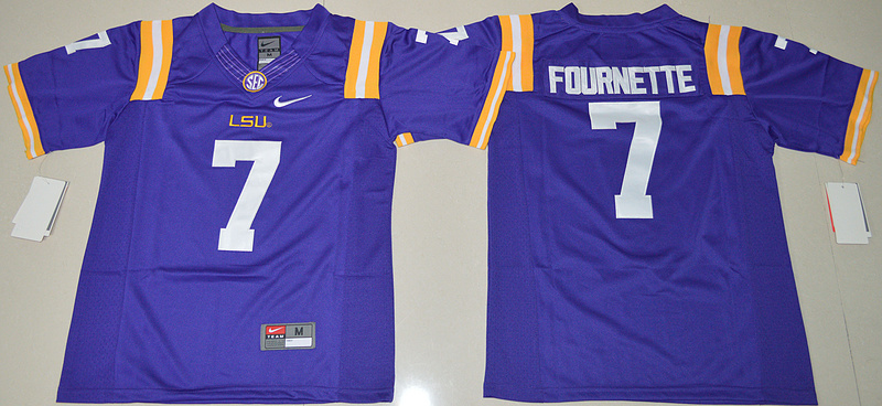 2016 Youth NCAA LSU Tigers 7 Leonard Fournette Purple College Football Limited Jersey