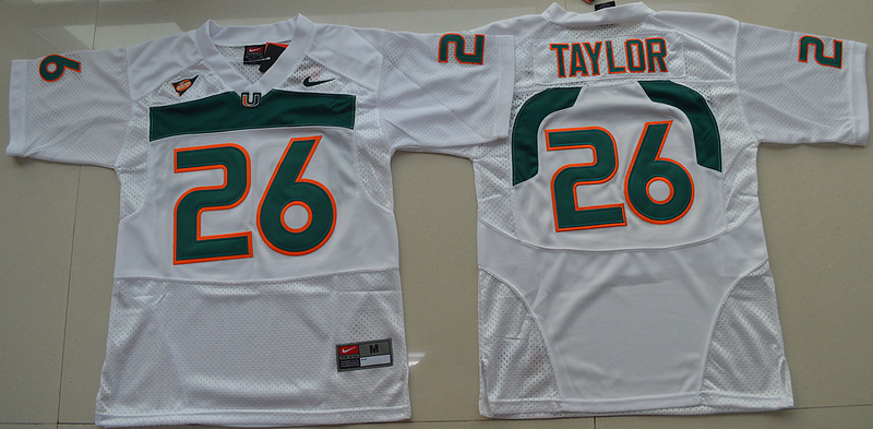 2016 Youth NCAA Miami Hurricanes 26 Sean Taylor White College Football Jersey