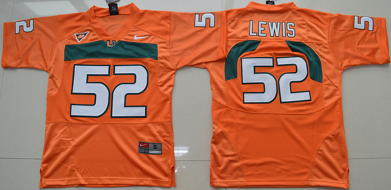 2016 Youth NCAA Miami Hurricanes 52 Ray Lewis Orange College Football Jersey