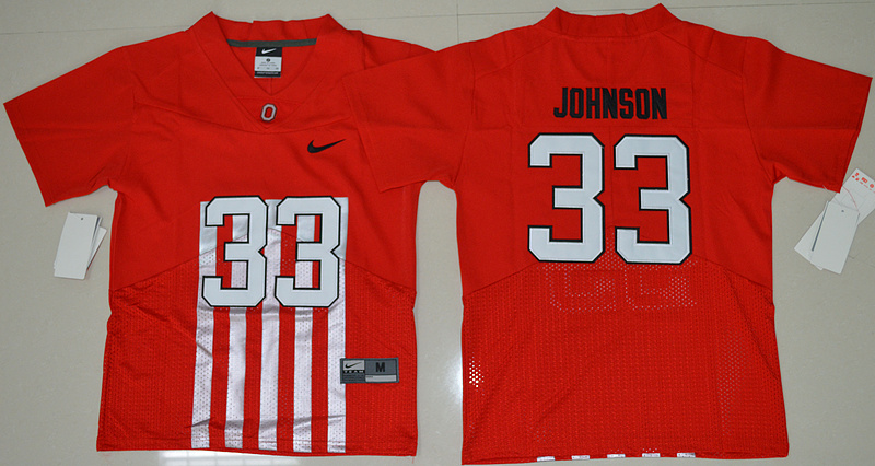 2016 Youth NCAA Ohio State Buckeyes 33 Pete Johnson Red College Football Alternate Elite Jersey