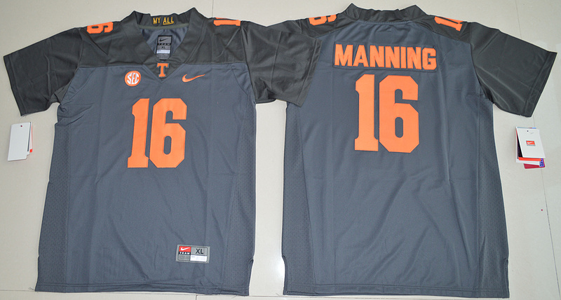 2016 Youth NCAA Tennessee Volunteers 16 Peyton Manning Grey College Football Limited Jersey