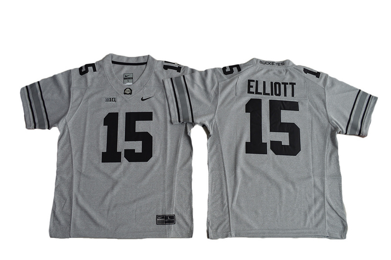 2016 Youth Ohio State Buckeyes Ezekiel Elliott 15 College Football Jersey - Gridion Grey II
