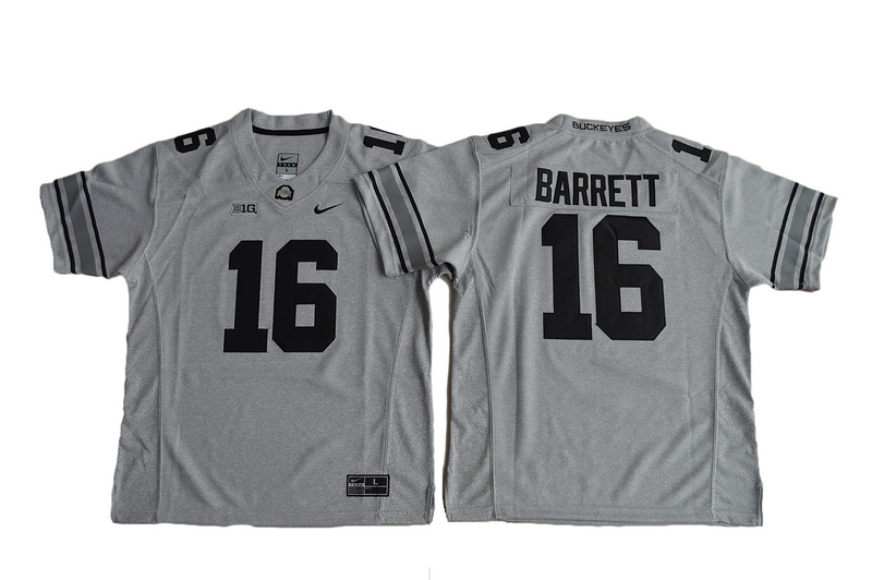 2016 Youth Ohio State Buckeyes J.T. Barrett 16 College Football Jersey - Gridion Grey II