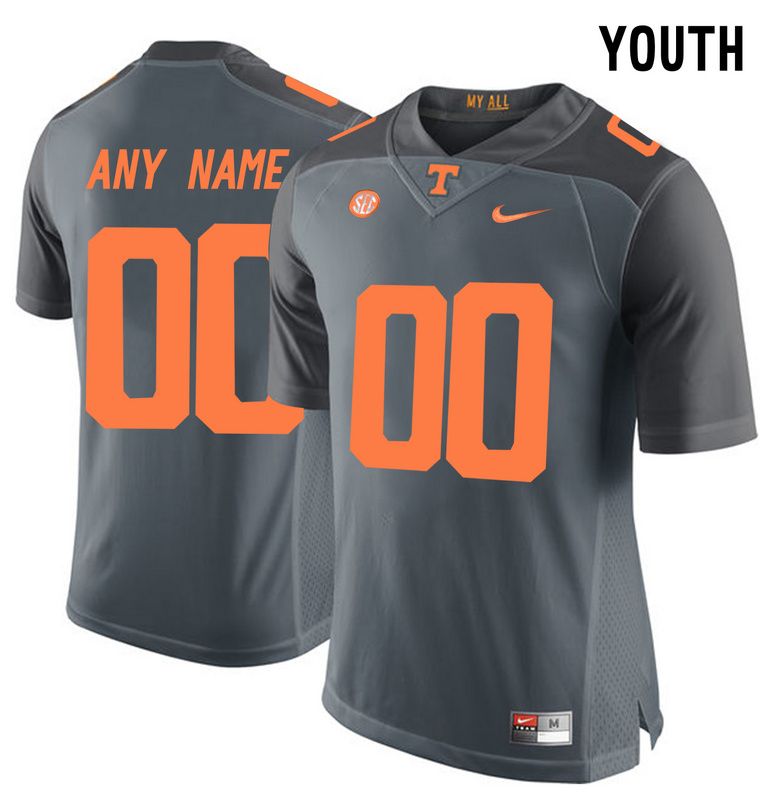 2016 Youth Tennessee Volunteers Customized College Football Limited Jersey Grey