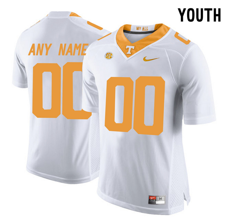 2016 Youth Tennessee Volunteers Customized College Football Limited Jersey White