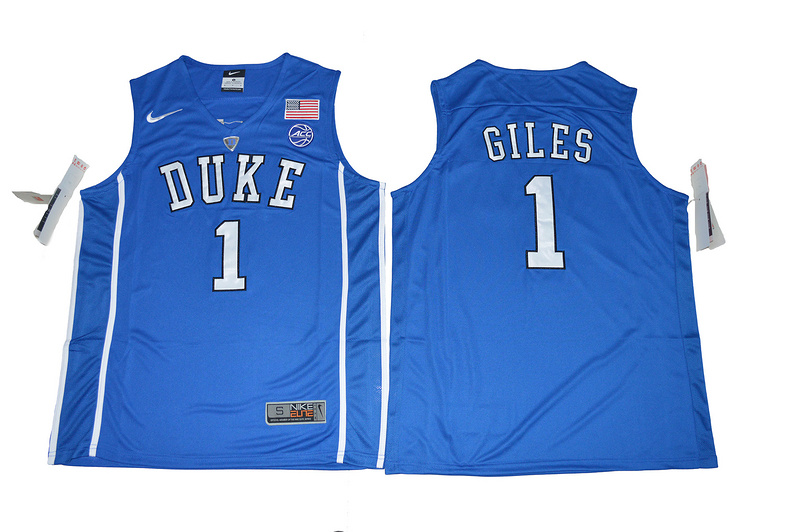 2017 Duke Blue Devils Harry Giles 1 V Neck College Basketball Elite Blue Jersey