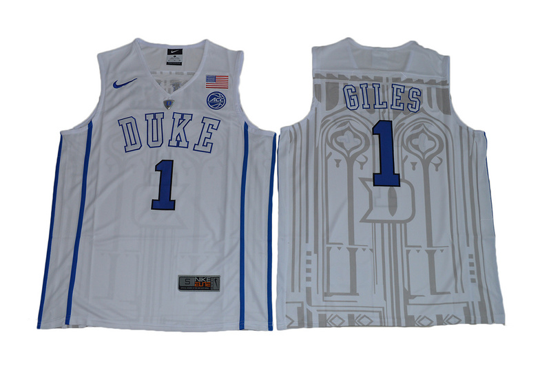 2017 Duke Blue Devils Harry Giles 1 V Neck College Basketball Elite White Jersey
