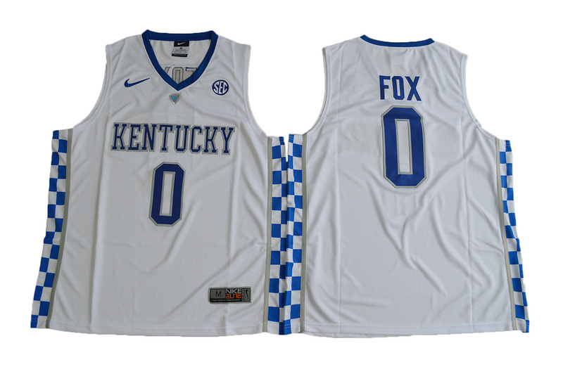 2017 Kentucky Wildcats De'Aaron Fox 0 College Basketball Elite Jersey - White