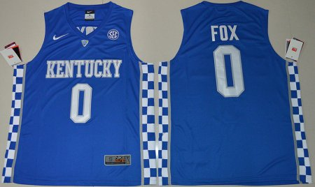 2017 Kentucky Wildcats De'Aaron Fox 0 College Basketball Hype Elitel Blue Jersey