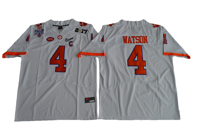 2017 Men Clemson Tigers DeShaun Watson 4 Diamond Quest Limited Jersey - White
