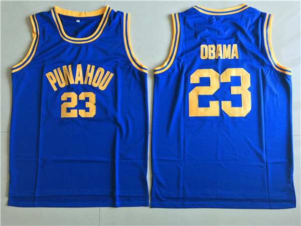 2017 PUNAHOU 23 Obama Blue College Basketball Authentic Jersey
