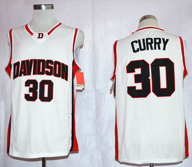 Davidson Wildcat Stephen Curry 30 College Basketball Jersey - White