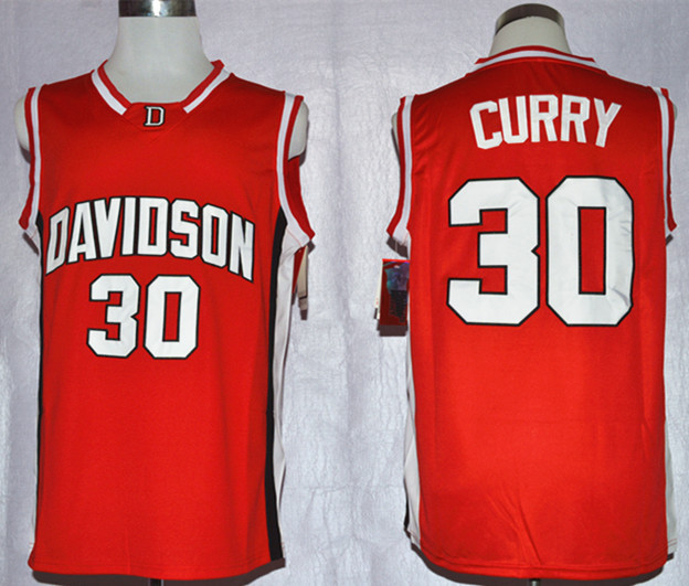 Davidson Wildcat Stephen Curry 30 College Basketball Jerseys - Red