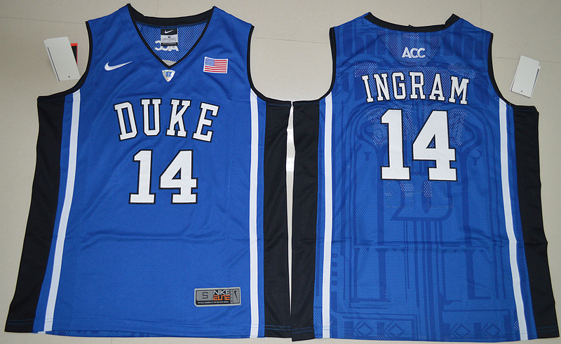 Duke Blue Devils Brandon Ingram 14 V Neck College Basketball Elite Jersey - Blue