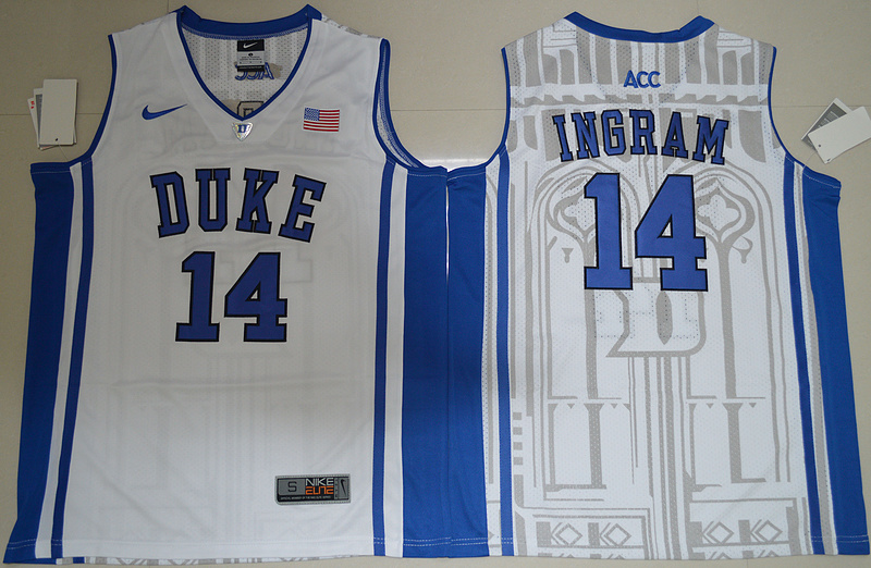 Duke Blue Devils Brandon Ingram 14 V Neck College Basketball Elite Jersey - White