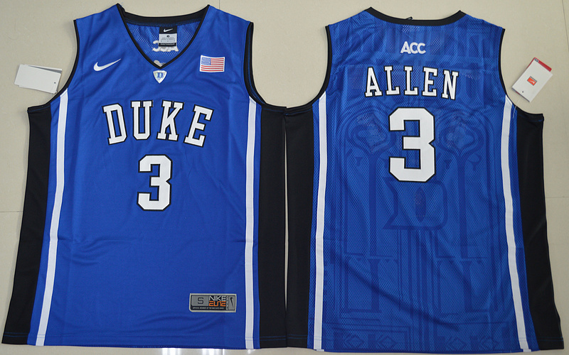 Duke Blue Devils Garyson Allen 3 V Neck College Basketball Elite Jersey - Blue