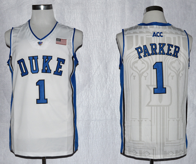 Duke Blue Devils Jabari Parker 1 ACC Patch NCAA Authentic Basketball Performance Jersey - White