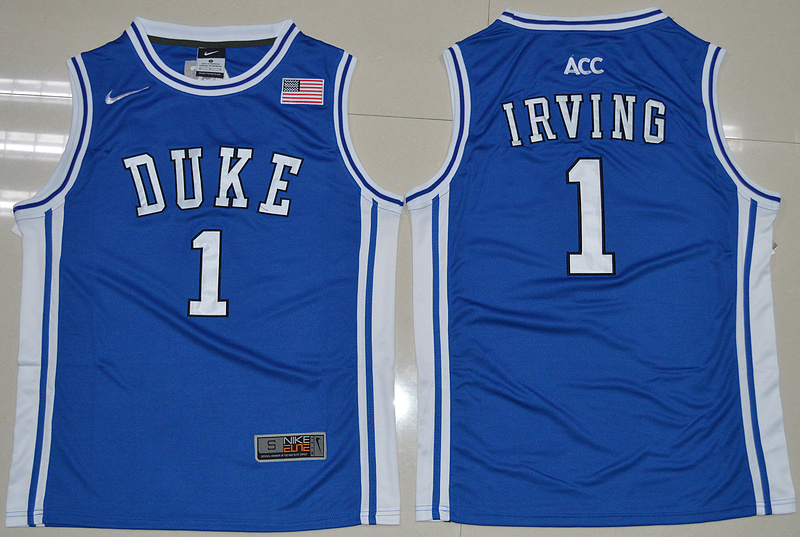 Duke Blue Devils Kyrie Irving 1 Round Neck College Basketball Throwback Jersey - Duke Blue