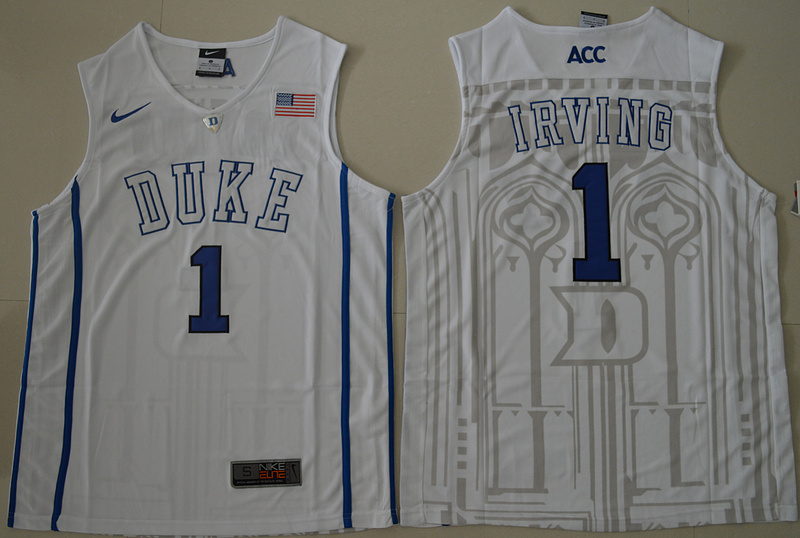 Duke Blue Devils Kyrie Irving 1 V Neck College Basketball Elite Jersey - White