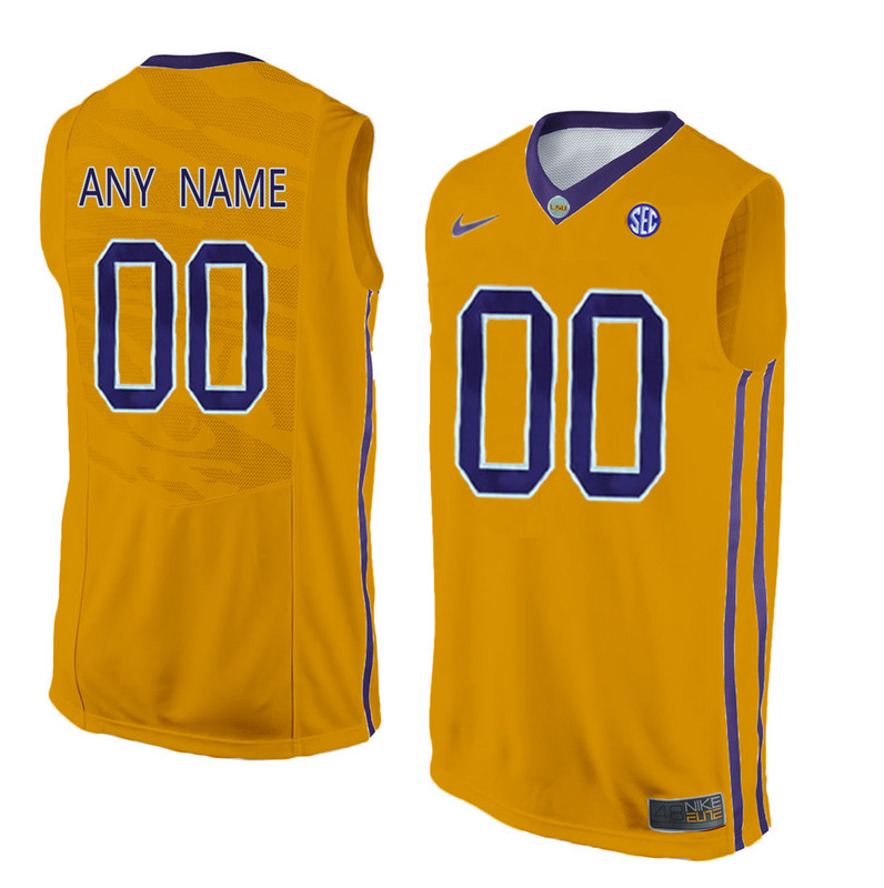 Men LSU Tigers Customized College Basketball Elite Jersey Gold