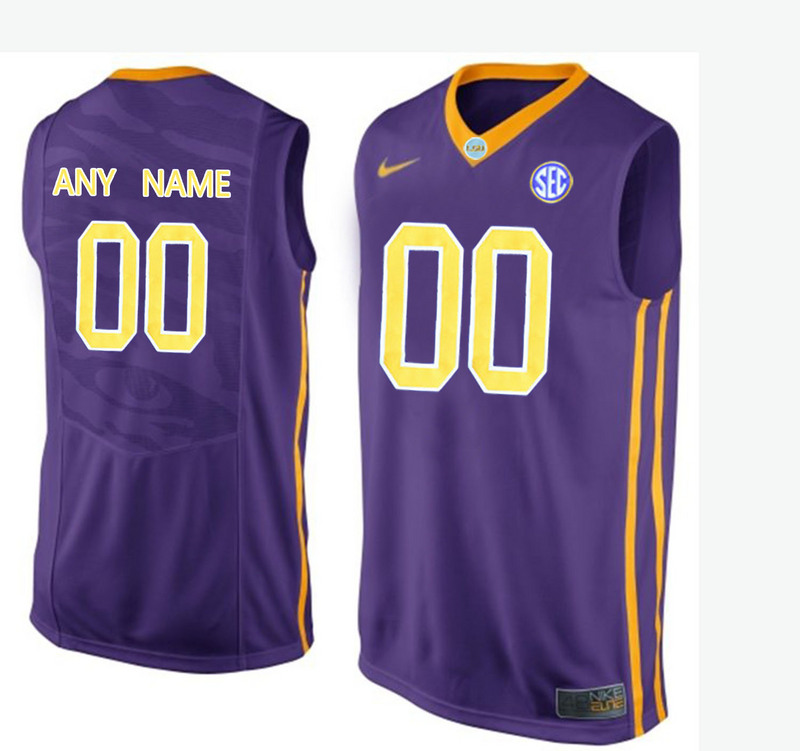 Men LSU Tigers Customized College Basketball Elite Jersey Purple