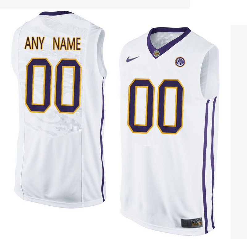 Men LSU Tigers Customized College Basketball Elite Jersey White