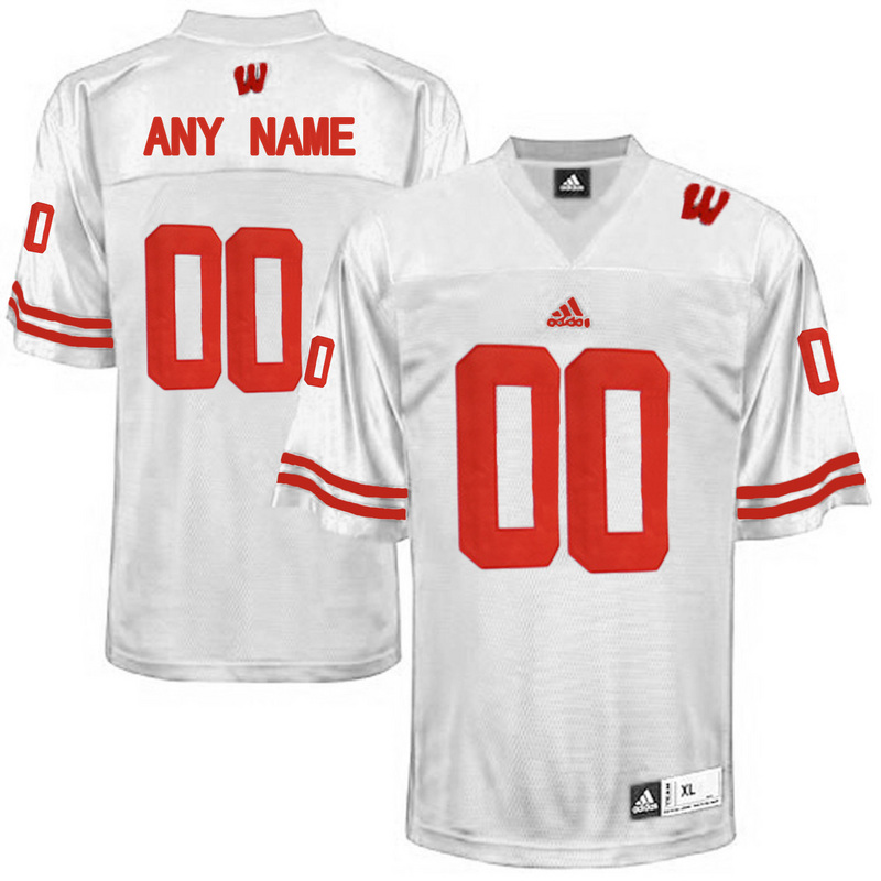 Men Wisconsin Badgers Customized College Football Jersey White