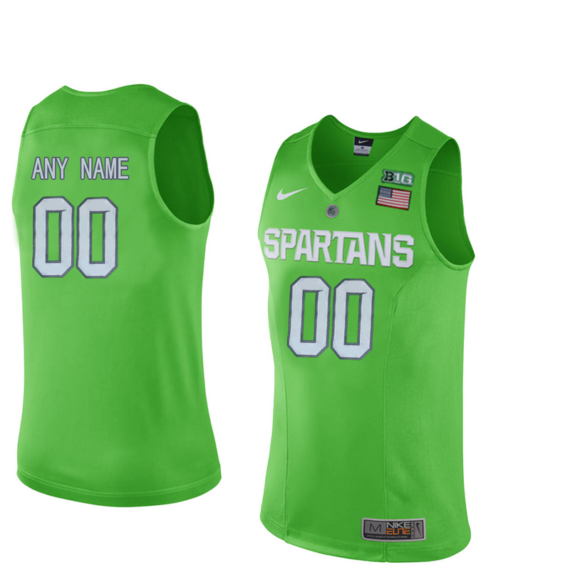 Michigan State Spartans Customized College Basketball Authentic Jersey Apple Green