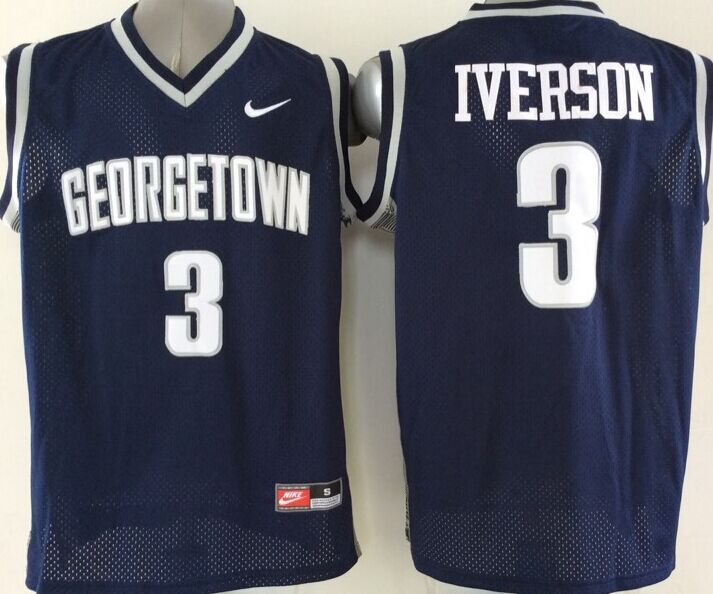 NBA NCAA Georgetown Hoyas 3 Allen Iverson Blue 2015 Jerseys
