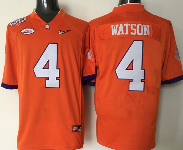 NCAA 2016 Clemson Tigers 4 Watson orange jerseys