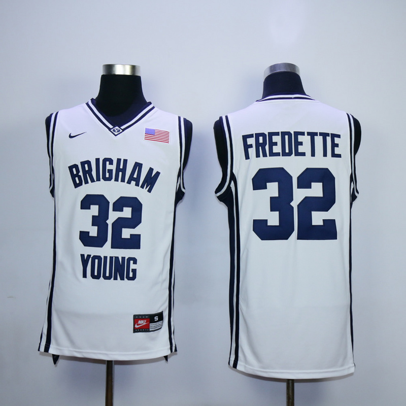 NCAA 32 Jimmer Fredette White Brigham Young Cougars Jersey