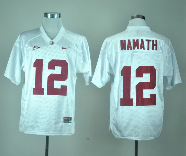 NCAA Alabama Crimson Tide 12 Joe Namath White Nike College Football Jersey