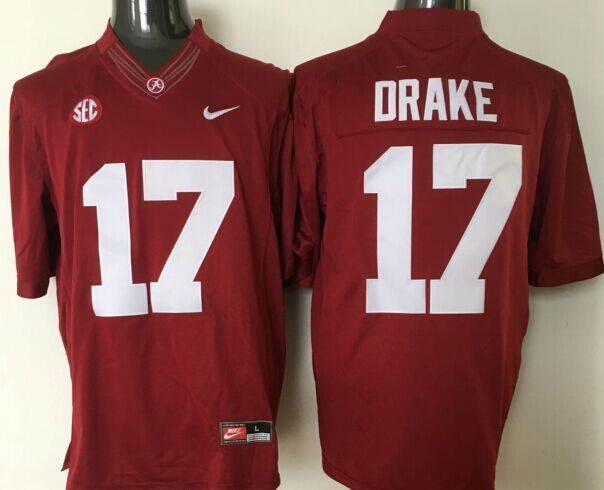 NCAA Alabama Crimson Tide 17 Drake red jerseys