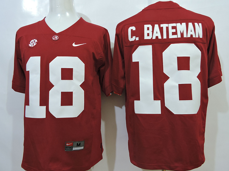 NCAA Alabama Crimson Tide 18 C.Bateman Red 2015 Jerseys.