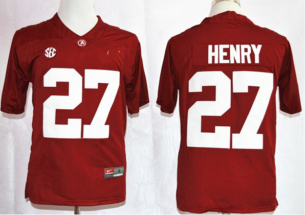NCAA Alabama Crimson Tide 27 Derrick Henry Red Nike 2015 College Football Playoff Sugar Bowl Special Event Jersey.