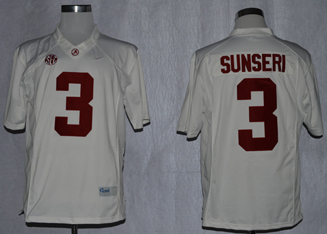 NCAA Alabama Crimson Tide 3 Vinnie Sunseri White College Football Limited Jerseys