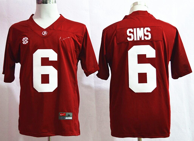 NCAA Alabama Crimson Tide 6 Blake Sims Red Nike 2015 College Football Playoff Sugar Bowl Special Event Jersey