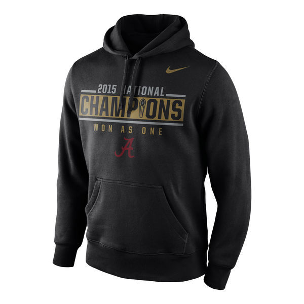 NCAA Alabama Crimson Tide Nike College Football Playoff 2015 National Champions Locker Room Pullover Hoodie - Black