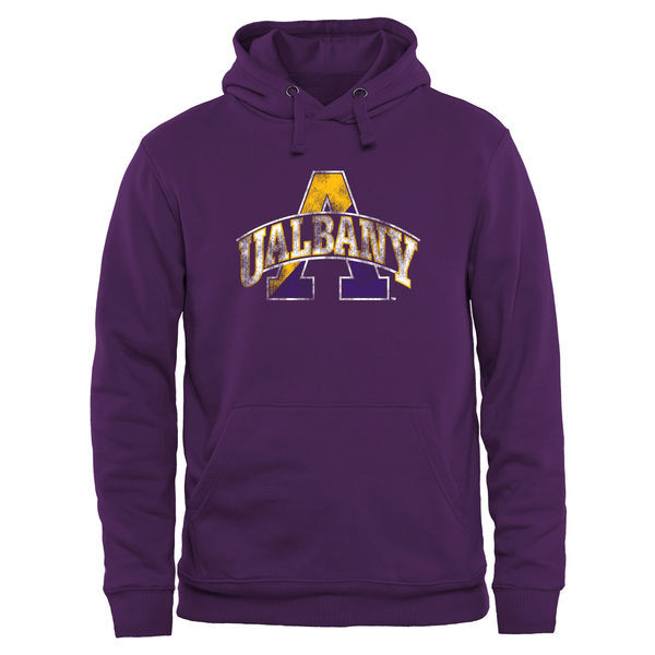 NCAA Albany Great Danes Classic Primary Pullover Hoodie - Purple